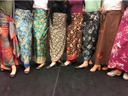 Beautiful batik skirts..but the croc flats are what make our outfits complete.